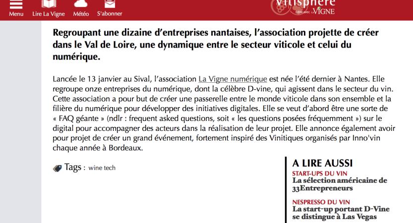 Vitisphère – lancement de l'association la vigne numérique